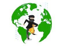 Thief stealing money on the world. Iluustrator Royalty Free Stock Photos