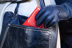 Thief stealing a purse from a woman's handbag. Thief in gloves stealing a purse  from the women's bags Royalty Free Stock Photography