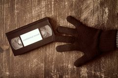 Stealing videotape with confidential record Royalty Free Stock Image
