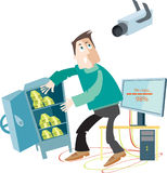 Thief steals information and money Royalty Free Stock Photo