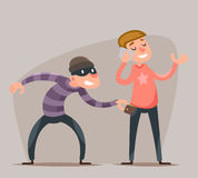 Thief Steals a Purse from  Hapless Guy Character Icon Cartoon Design Template Vector Illustration Stock Photography