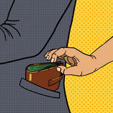 Thief steals wallet from pocket pop art vector Royalty Free Stock Photos