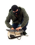 Thief  with stolen bag Royalty Free Stock Photos