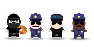 Thief with Stolen Bag, Policeman and Bank security officer, cartoon characters. Stock Photography