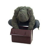Thief with stolen suitcase Royalty Free Stock Image