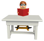 Thief with Table chair and book. 3d rendered illustration of Thief with Table chair and book Royalty Free Stock Photo