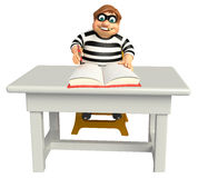Thief with Table chair and book. 3d rendered illustration of Thief with Table chair and book Royalty Free Stock Image