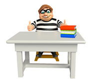 Thief with Table & chair,book stack. 3d rendered illustration of Thief with Table Stock Photos