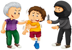 Thief threatening boy for money. Illustration Royalty Free Stock Photography