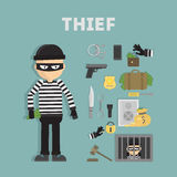 Thief tools flat Royalty Free Stock Photo