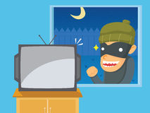 Thief Want to Steal Television. At night thieves see the television from outside the house and wanted to steal Vector Illustration