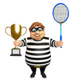 Thief with Winning cup & Badminton. 3d rendered illustration of Thief with Winning cup & Badminton Royalty Free Stock Image