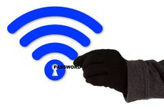 Thief WPA2 backdoor krack cybersecurity concept. Hand with glove taking the word password of a blue wifi symbol with a keyhole WPA2 backdoor krack cybersecurity stock image