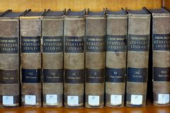 LEUVEN, BELGIUM - SEPTEMBER 05, 2014: Books of the dictionary Thieme-Becker Kunstler Lexikon in library of the Catholic University. Thieme-Becker is a famous royalty free stock photos