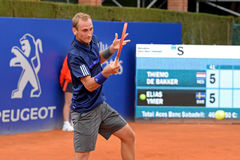 Thiemo de Bakker (tennis player from Netherlands) plays at the ATP Barcelona Royalty Free Stock Image