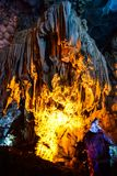 Thien Cung Cave in Ha Long Bay, Vietnam Royalty Free Stock Photography