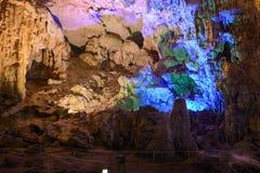 Thien Cung Cave - mening binnen van het hol Stock Fotografie