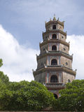 Thien Mu Pagoda in Hue city, Vietnam. This emblematic religious temple that left many martyrs Buddhists burned themselves to bonzo in defense of their religion royalty free stock photo