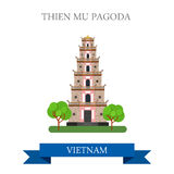 Thien Mu Pagoda in Vietnam attraction travel sightseeing. Thien Mu Pagoda in Vietnam. Flat cartoon style historic sight showplace attraction web site vector Stock Image