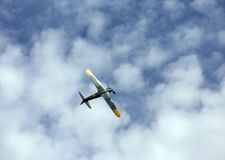 Thiene, Vicenza - Italy. 26th July, 2015: aerobatics aircraft du. Thiene, Vicenza - Italy. 26th July, 2015: important air show called FlighThiene in Thiene Stock Image