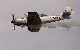 Thiene, Vicenza - Italy. 26th July, 2015: Aircraft with smoke Royalty Free Stock Images