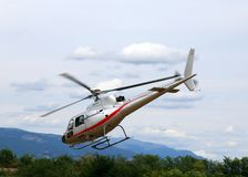 Thiene, Vicenza - Italy. 26th July, 2015:small helicopter for si Stock Images