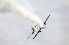Thiene, Vicenza - Italy. 26th July, 2015:Two aircraft perform am Stock Image