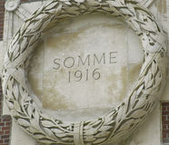 Thiepval Memorial. Somme 1916 roundel depicted on Thiepval Memorial Royalty Free Stock Photography