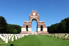 The Thiepval Memorial to the Missing of the Somme. The Thiepval Memorial to the Missing of the Somme battlefields, a war memorial to missing British who died in stock image