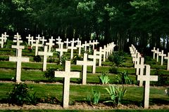 Thiepval Missing People Memorial 1541. Thiepval Missing People Memorial graves with wooden crosses Stock Image