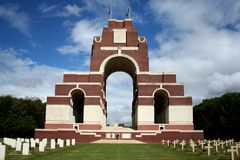 Thiepval Missing People Memorial 1540. WW1 Thiepval Missing People Memorial with cemetery and graves Stock Photography