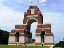 Thiepval WWI military cemetary France. Thiepval British military cemetary for WWI soldiers without a known grave or headstone Royalty Free Stock Images