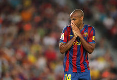 Thierry Henry FC Barcelona disappointment. Futbol Club Barcelona player Thierry Henry during Spanish Supercup match between Barcelona vs Athletic Bilbao at the Stock Images