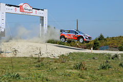 Thierry Neuville of Belgium and Nicolas Gilsoul of Belgium. Compete in their Hyundai Motorsport Hyundai i20 WRC during Day One of the WRC Portugal on May 22 Royalty Free Stock Images