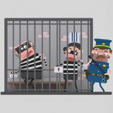 Thieves arrested in prison.3D. NnEasy combine! Custom 3d illustration? contact me Stock Photos