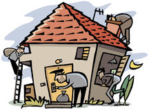 Thieves break into house. Cartoon scenes of 4 thieves break into house Royalty Free Stock Images