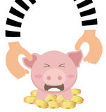 Thieves Hand Stealing Money Coin From Piggy Bank Royalty Free Stock Photography