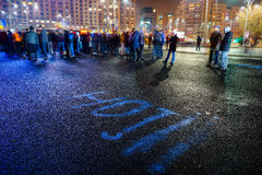 `thieves` message at protest, Bucharest, Romania Stock Image