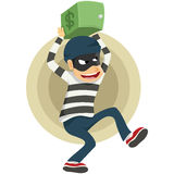 Thieves run away with safe deposit box. Thieves run away after stolen safe deposit box royalty free illustration