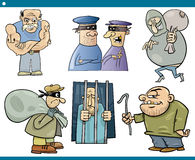 Thieves and thugs cartoon set. Cartoon Illustration Set of Thieves and Ruffians or Thugs Bad Guys Characters Stock Images