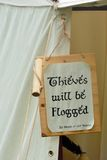 Thieves will be flogged sign Stock Photography
