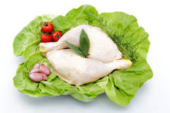 Thighs of chicken on lettuce leaves white backgrou Royalty Free Stock Image