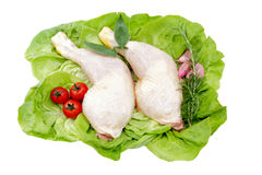 Thighs of chicken on lettuce leaves white backgrou Royalty Free Stock Photos