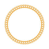 Thik golden chain - round frame. Royalty Free Stock Photos