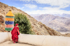 Thiksay Buddhist Monastery. Ladakh, India - July 10, 2016: Buddhist monk in traditional robe at Thiksay monastery in Ladakh, Kashmir, India Royalty Free Stock Photos