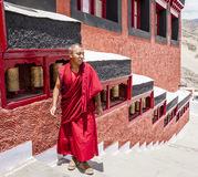 Thiksay Buddhist Monastery. Ladakh, India - July 10, 2016: Buddhist monk in traditional robe at Thiksay monastery in Ladakh, Kashmir, India Stock Images