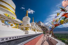 Stupas at Thikse monastery located on top of a hill in Thiksey village east of Leh in Ladakh, India. Royalty Free Stock Photos