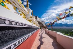 Stupas at Thikse monastery located on top of a hill in Thiksey village east of Leh in Ladakh, India. Royalty Free Stock Images
