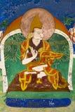 在Thikse Gompa的佛教壁画在Ladakh 免版税库存图片
