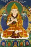在Thikse Gompa的佛教壁画在Ladakh 库存照片